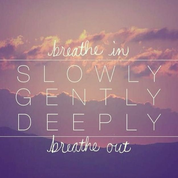 Quote about breathing on image of pink sky
