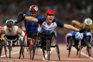 Paralympic athletes racing on track