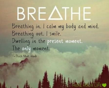 Quote about breathing on image of clouds and sky above pine trees