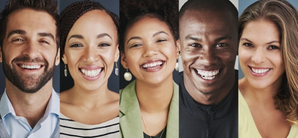 5 pictures of two men and three women of differing races all smiling