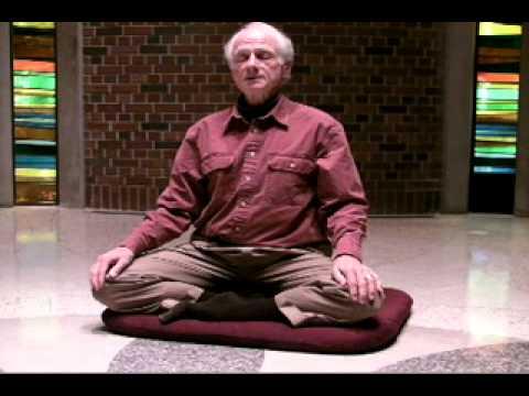 senior gentleman sat on cushion in simple cross-legged yoga pose in mindfulness meditation