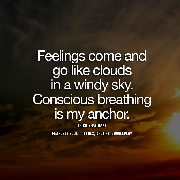 quote about mindfulness breathing on image of stormy orange sky