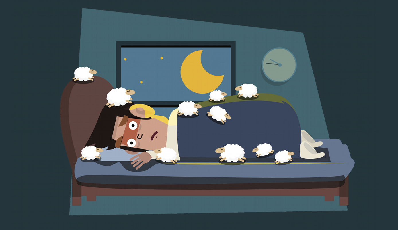 cartoon of man in bed suffering insomnia counting sheep