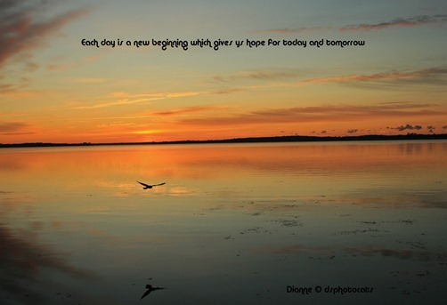 quote about hope on an image of a sunrise over water