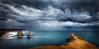 image of stormy black sky above dark sea