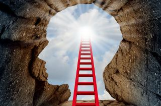 Image of profile head with ladder leading from neck up to brain and a bright light emanating from top of ladder
