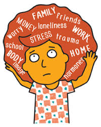 Cartoon image of girl with various anxiety inducing words in hair